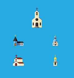 Flat icon church set of building church vector