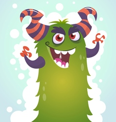 Happy cartoon green and fluffy horned monster vector