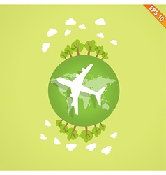 Plane over the earth for travel concept - - vector