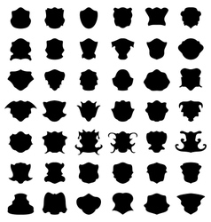 Set decorative shape border black silhouette tag vector image
