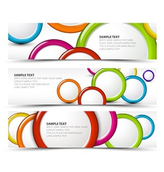 Set of horizontal banners with 3d circles vector image
