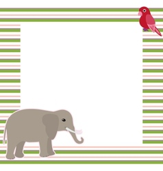 Stripy card with elephant and parrot vector image vector image