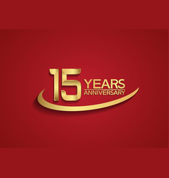 15 years anniversary logo style with swoosh vector