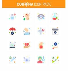 16 flat color set corona virus epidemic icons vector