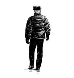 A casual urban pedestrian goes down street vector