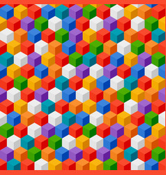Abstract background of color cubes seamless vector