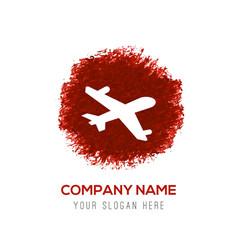 Aeroplane icon - red watercolor circle splash vector