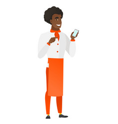 African-american chef cook holding a mobile phone vector