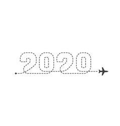 Airplane 2020 dotted trace plane route lines vector