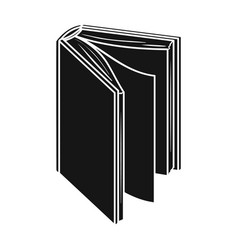 black standing book icon in black style isolated vector image