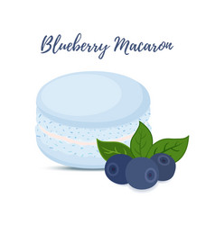 Blueberry macaron with meringue cream vector