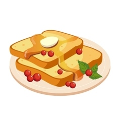 Bread Toasts With Melting Butter And Honey Plate vector