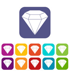 brilliant gemstone icons set flat vector image