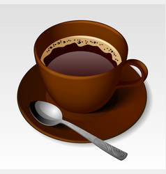 Brown cup of coffee with a spoon vector