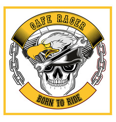 cafe racer eagle and skull bikershand drawing vector image