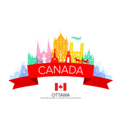 Canada travel landmarks vector