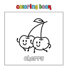 cherry fruit coloring page book outline download vector image