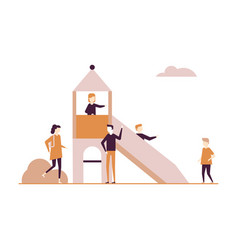 children on the playground - flat design style vector image