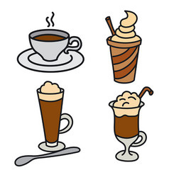 Coffee drinks and beverages vector