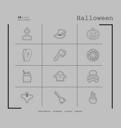 Collection of 12 halloween icons in thin line vector