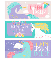 colored cards with unicorn drawing fantasy horse vector image