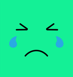 crying funny emotion emoji sad face with tears vector image