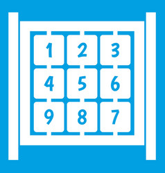 Cubes with numbers on playground icon white vector