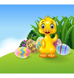 Cute little duck with colourful Easter eggs vector
