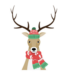 deer in christmas hat and scarf vector image