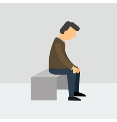 Depressed man sitting on a bench vector