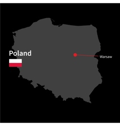 Detailed map poland and capital city warsaw vector