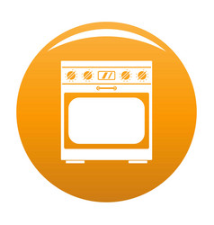 Domestic gas oven icon orange vector