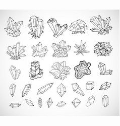 Doodle sketch crystals collection of minerals on vector