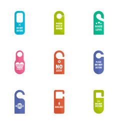 Door tag icon set flat style vector