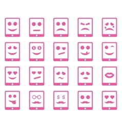 Emotion mobile tablet icons vector image