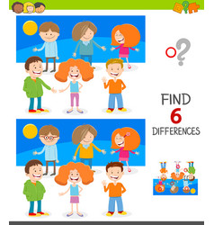 Finding differences game with happy kids vector