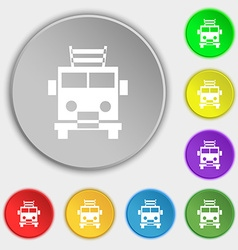 Fire engine icon sign Symbol on eight flat buttons vector