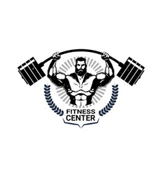 Fitness center emblem with athletic man vector