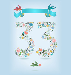 floral number thirty three with ribbon and birds vector image