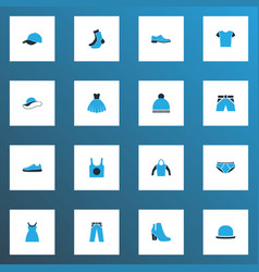 garment icons colored set with fedora hat gown vector image
