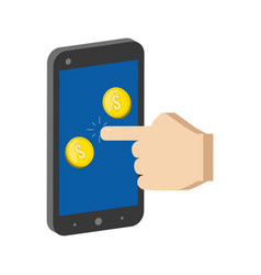 Golden coins jump out of smartphone mobile vector