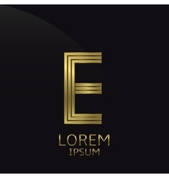 Golden E Letter vector