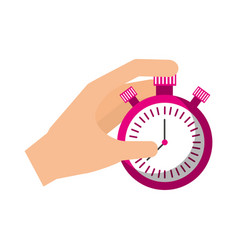 hand holding finger on chrome stopwatch with vector image