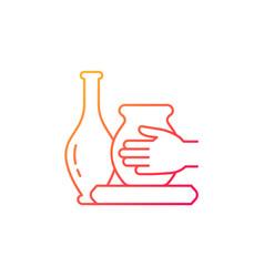 Handmade pottery gradient linear icon vector