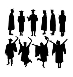 happy graduation activity silhouettes vector image