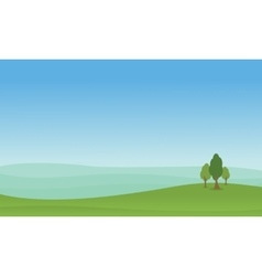 Hill with tree of landscape vector