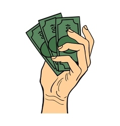 Human hand holding dollar money vector