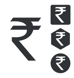 Indian rupee icon set monochrome vector