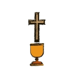 Isolated religion cross and cup design vector
