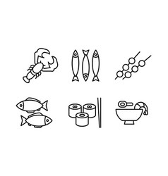 japanese cuisine dishes set asian food black line vector image